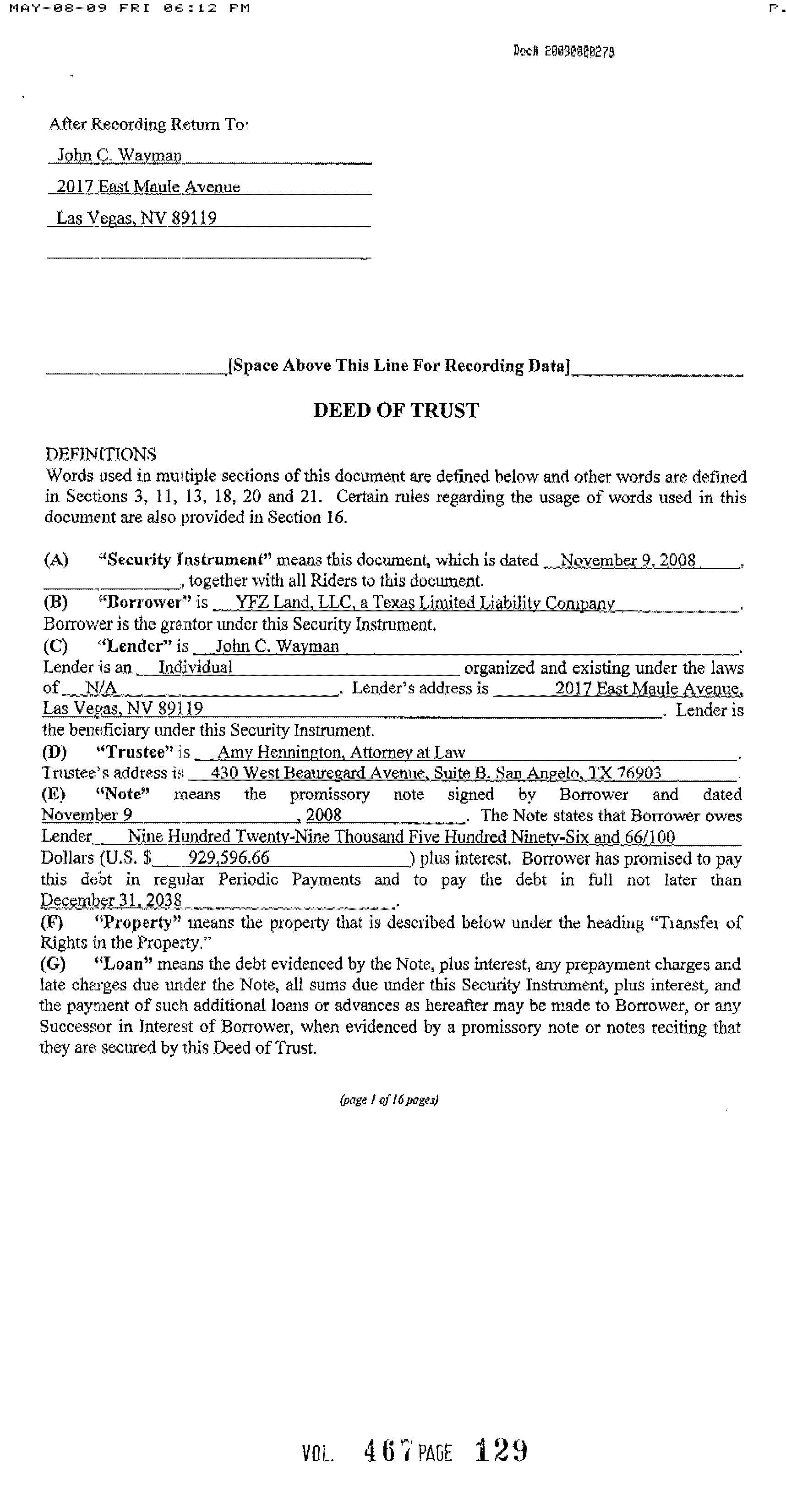 yfz ranch deed of trust | flds texas