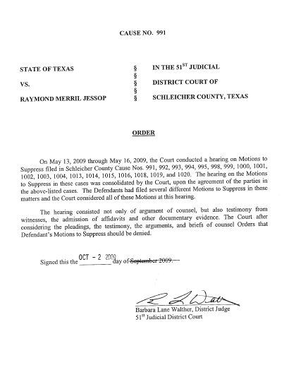 Order Denying Motion to Suppress 10-2-09 | FLDS TEXAS